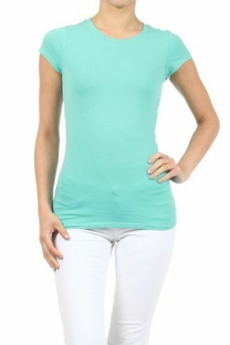 New Women/'s Basic Summer T-Shirt Stretchy Crew Neck Cotton Casual Lounge Top