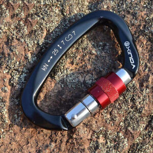 25KN-Aluminum-D-Shape-Carabiner-Screw-Locking-Hook-Rock-Climbing-Caving-Rescue