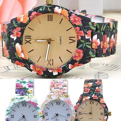 Mujeres damas diseñador flor artificial cerámico cuarzo Relojes de pulsera NEW