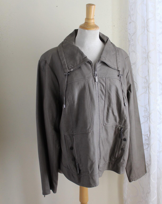 Centígrado -Sz 2X gris muy elegante de piel sintética con cremallera Moto Chic Moto chaqueta al aire libre