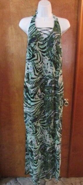 Ladies  Jennifer Lopez  Size 4, InterLeaf(green), PalmParadise,Maxi,Halter Dress
