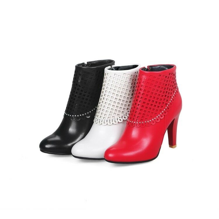 Ladies Party shoes Synthetic Leather High Heels Zip Up Ankle Boots US Size b152