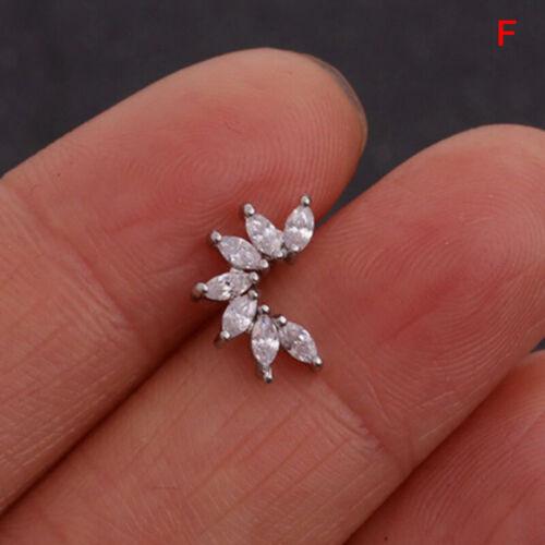 Crystal Flower Wing Tortoise Ear Helix Cartilage Body Piercing Earrings St np