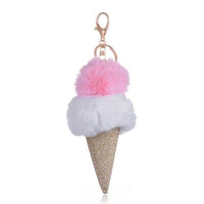 UK/_ CUTE ICE CREAM POMPOM BALL CHARM KEY RING HOLDER KEYCHAIN CAR BAG PENDANT ST