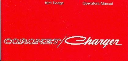 1971  71     DODGE  CORONET//RT  OWNER/'S MANUAL