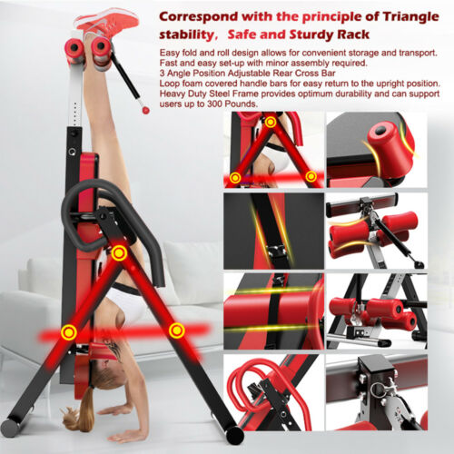 Heavy Duty Inversion Table Back Pain Relief Therapy Fitness Exercise Adjustable
