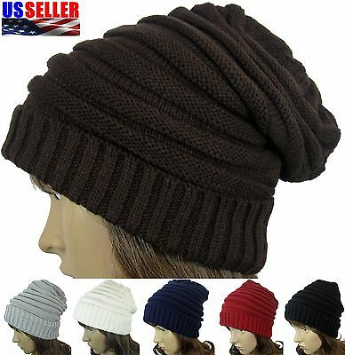 Winter Women Men Slouchy Knit Crochet Beanie Oversize Skull Ski Hat Cap
