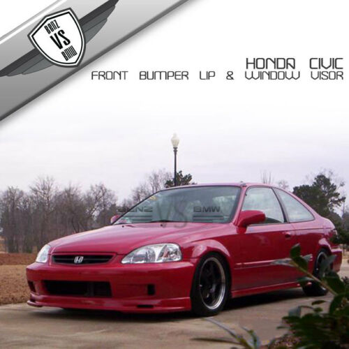 Fits 99-00 Honda Civic Mugen Front Bumper Lip Spoiler PP Sun Window Visor