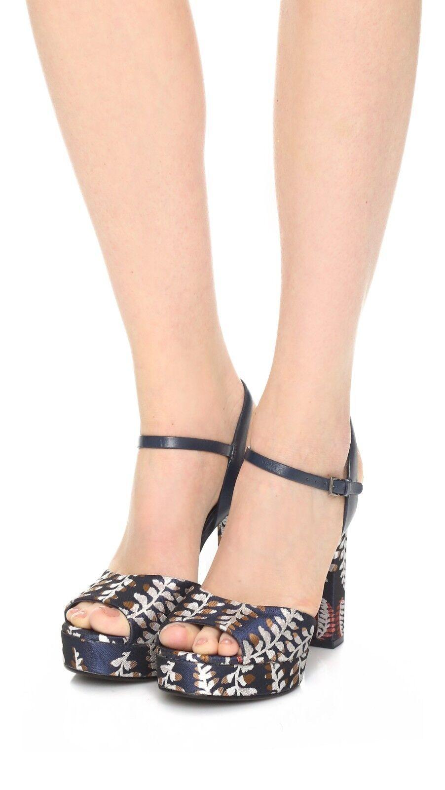$395 NEW Tory Burch SOLANA Sandals 9 Jacquard Navy Ankle Strap Platform schuhes 9 Sandals 677da7