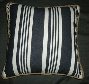 Stupendous Details About One Black Striped Throw Pillow Jute Braided Trim 18 X 18 Cover Only No Insert Gmtry Best Dining Table And Chair Ideas Images Gmtryco