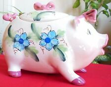 Vintage Ceramic Kitchen Pig Cookie Jar Pink Bows Hand Painted Blue Flowers