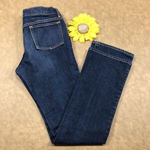 Old-Navy-Girls-Bootcut-Jeans-Size-12-Stretch-Dark-Wash-Blue-Denim-bs1171