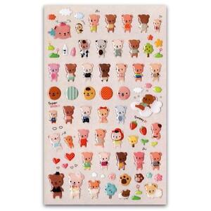 ... TEDDY-BEAR-GEL-STICKERS-Sheet-Animal-Craft-Kids-Scrapbook-Sticker-Bebe