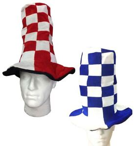 Unisex Wacky Tall Hats Blue White and Red White Headwear Hat Fancy ... b40eaf8d039b