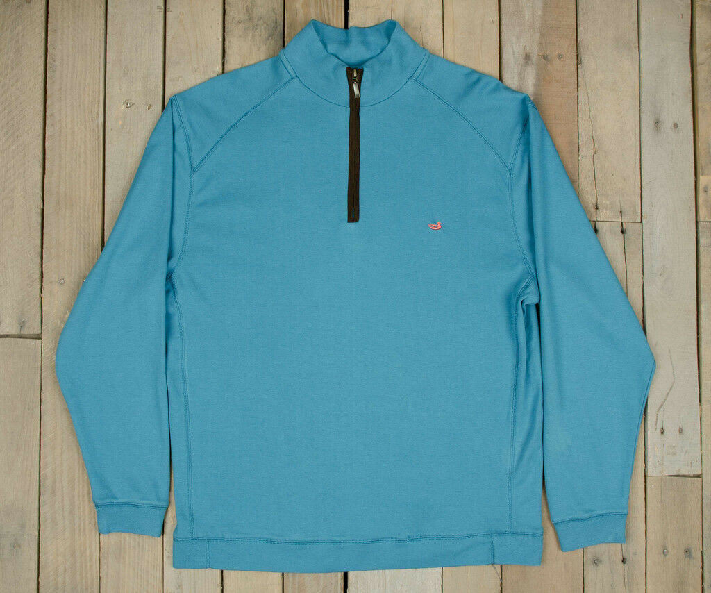 NWT Southern Marsh DownpourDry 1/4 Zip Cotton Antigua Blau Pullover Medium