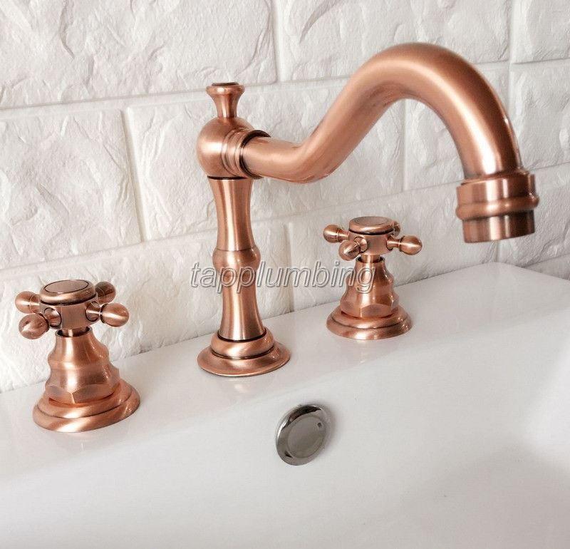 Rouge Cuivre Widespread Bathroom Basin Faucet Froid & Eau chaude Mitigeur
