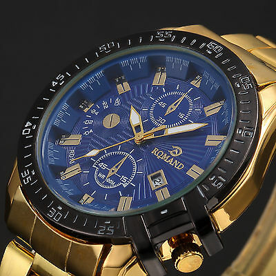 Luxury Men Date Gold Stainless Steel Band Quartz Analog Sport Wrist Watch