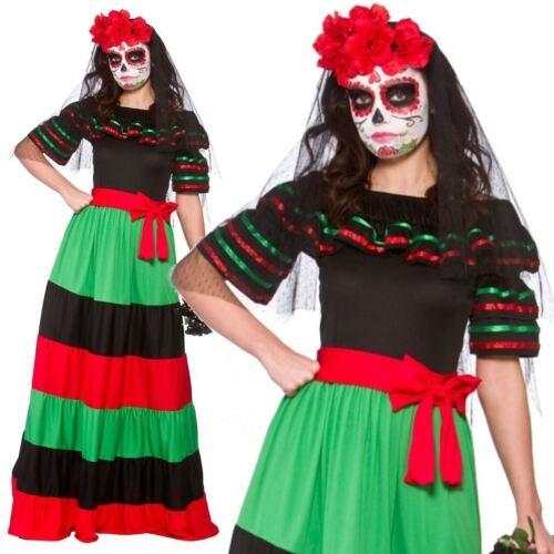 Day Of The Dead Senorita Ladies Spanish Halloween Fancy Dress Costume XS-XL