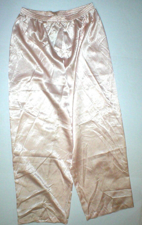New NWT Designer Natori Classics Light Peach Pants Silky Womens S Lounge Satin