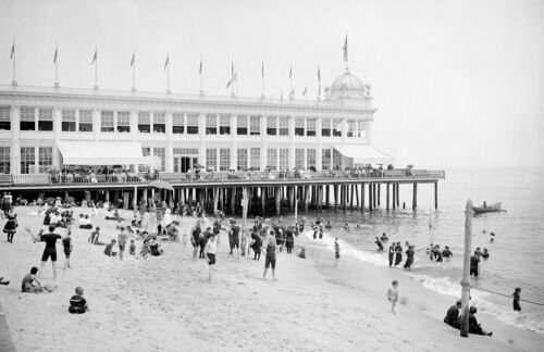 "NJ Casino and Beach Vintage Photograph  11/"" x 17/"" Reprint 1905 Asbury Park"