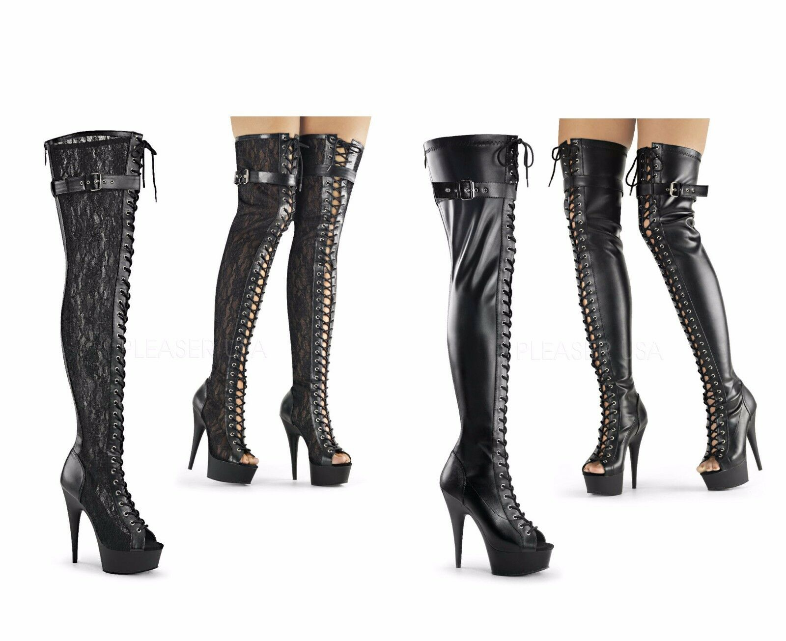 Pleaser DELIGHT-3025 Platforms Exotic Dancing High Thigh High Dancing Boots 86b3c2