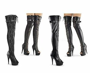 Pleaser DELIGHT-3025 Platforms Exotic Dancing Thigh High Boots