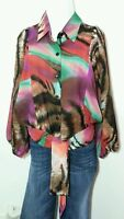 Animal Print Top Xl Extra Large 18 20 Blouse Shirt Emma Multi Colored