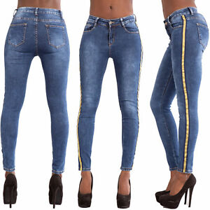 c48b1ea61498 Womens High Waisted Slim Skinny Jeans Ladies Stretchy Striped Pants ...