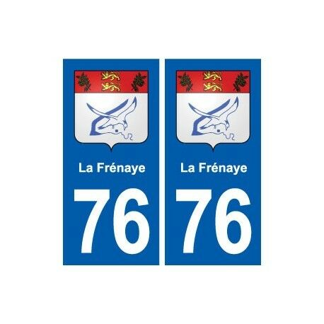 76 La Frénaye blason autocollant plaque stickers ville -  Angles : droits