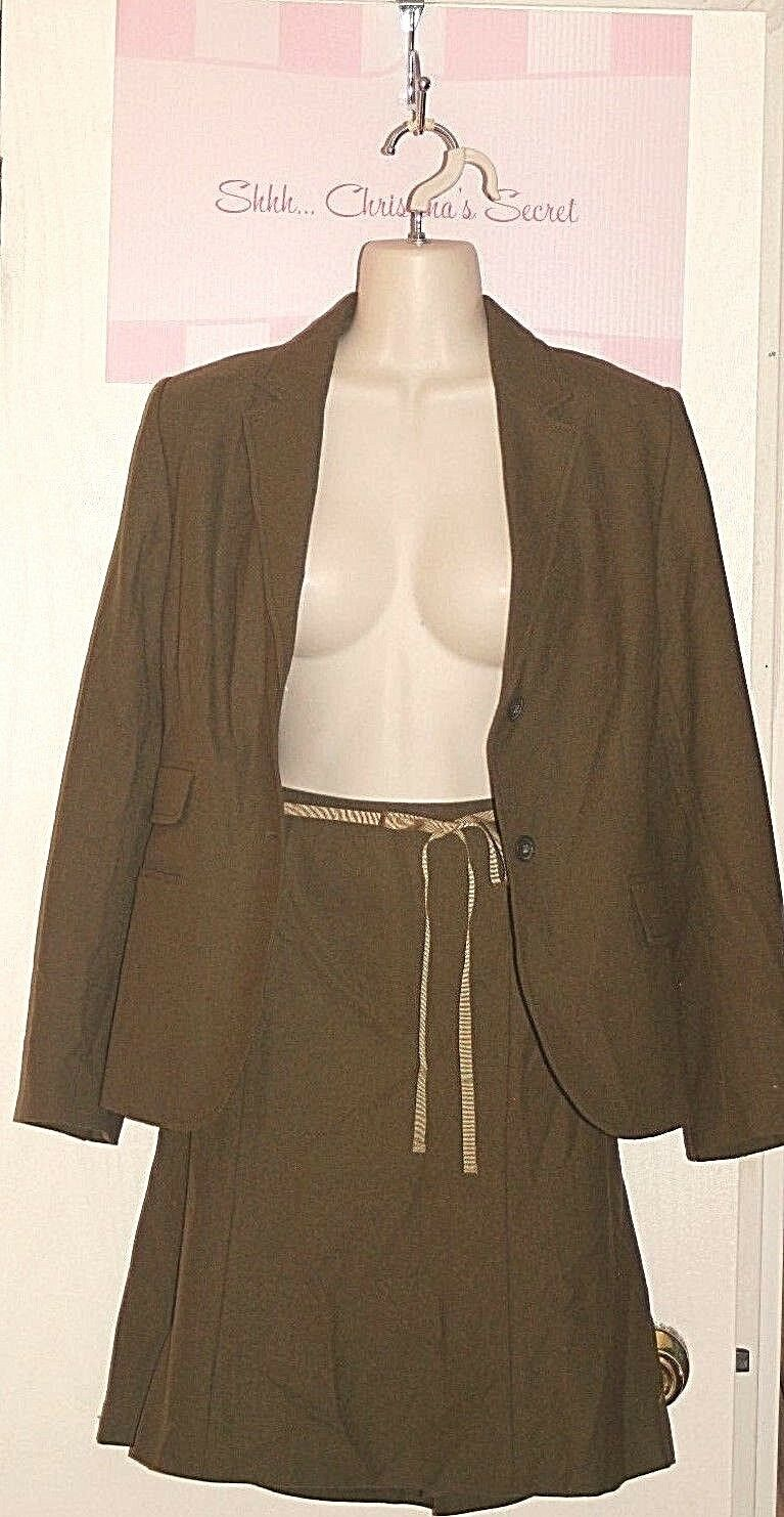 J. CREW  Green Stretchy Soft Wool  Lined Skirt Suit Sz 8 P  EXCELLENT ++