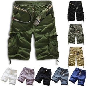 Casual-Men-Cotton-Summer-Beach-Army-Combat-Camo-Work-Cargo-Shorts-Pants-Trousers