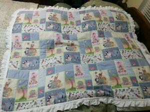 New Handmade Baby Quilt Baby Animal Patches Blue Gingham