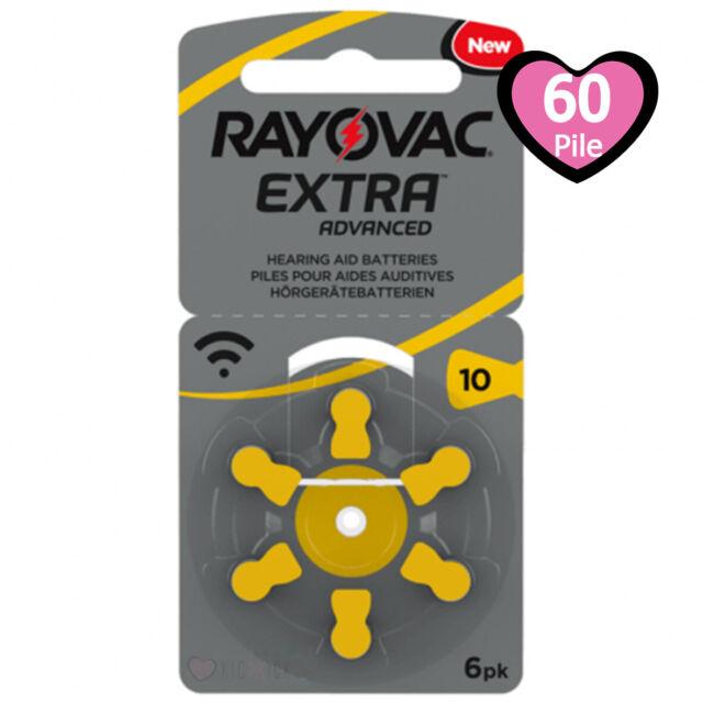 60 pile batterie per apparecchi acustici RAYOVAC EXTRA ADVANCED 10 gialle PR70