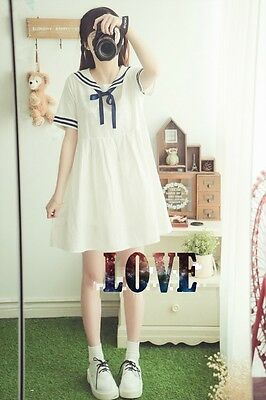 Harajuku Women's  Amo Lovely Sailor Seaman Neck Dress Bowknot Sweet Student  New