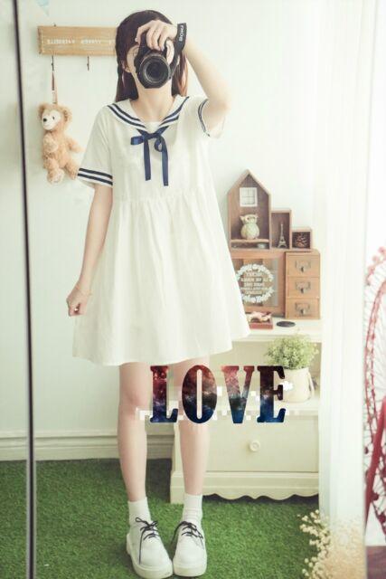 Harajuku Women's  Amo Lovely Sailor Seaman Neck Dress Bowknot Sweet Student  New