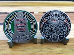MOTORCYCLE-CHALLENGE-COIN-NEVER-RIDE-FASTER-THAN-YOUR-ANGEL-CAN-FLY