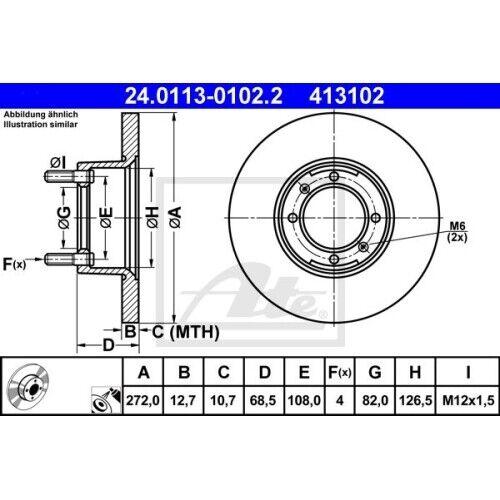 2 Bremsscheibe ATE 24.0113-0102.2 passend für ALFA ROMEO FIAT