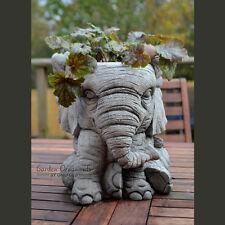 ELEPHANT POT Hand Cast Stone Garden Ornament Flower Planter Basket onefold-uk