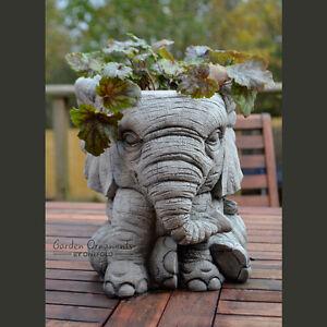 Image Is Loading ELEPHANT POT Hand Cast Stone Garden Ornament Flower