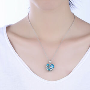18K-White-Gold-Marcasite-Turquoise-Heart-Pendant-Necklace-High-Quality-ITALY