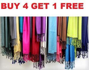 Women Soft Pashmina SILK Classic Solid Cashmere Wool SHAWL Scarf Stole WRAP New