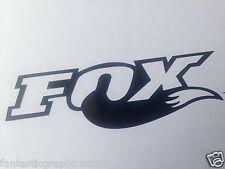 2x FOX Shox Tail Vinile Decalcomania Adesivo FORCHETTE / MOTO / CORNICE SET NERO LUCIDO
