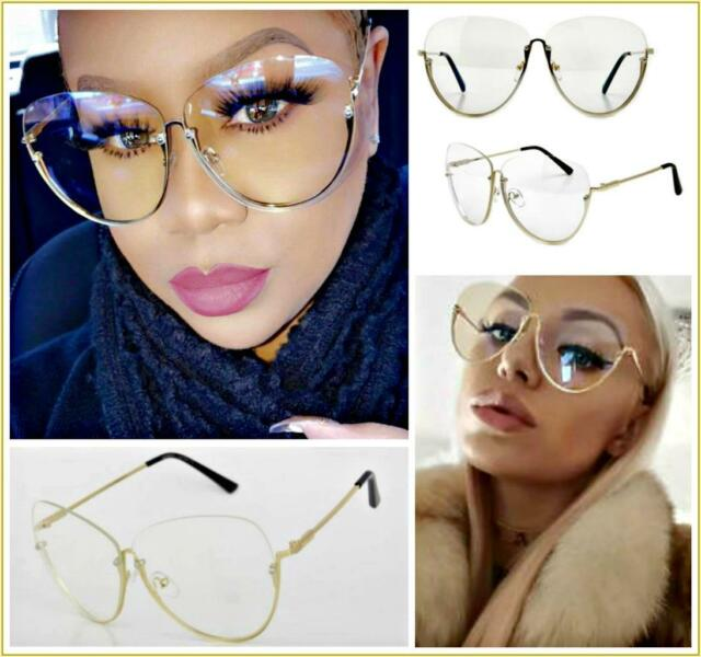 f0e4d9ca78 Oversize Semi-rimless Vintage Retro Style Clear Lens Sun Glasses Gold Frame