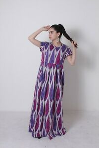 Uzbek-Multicolor-Silk-Beautiful-Original-Adras-Ikat-Dress-SALE-WAS-139-00