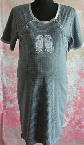 Woman maternity nightdress nightwear with two sides buttons and short sleeve M6