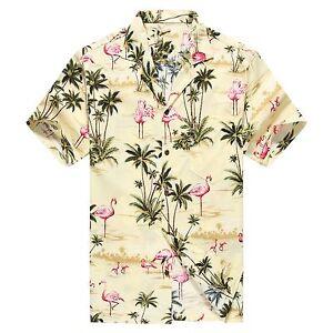 Made in Hawaii Men Hawaiian Aloha Shirt Luau Cruise Pink Flamingos Yellow