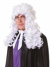 Mens Male White Court Judge Barrister Justice Law Fancy Dress Wig NEW P2083