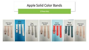 OEM 3pc Apple Silicone Solid Color Bands 38/40/42/44mm USED