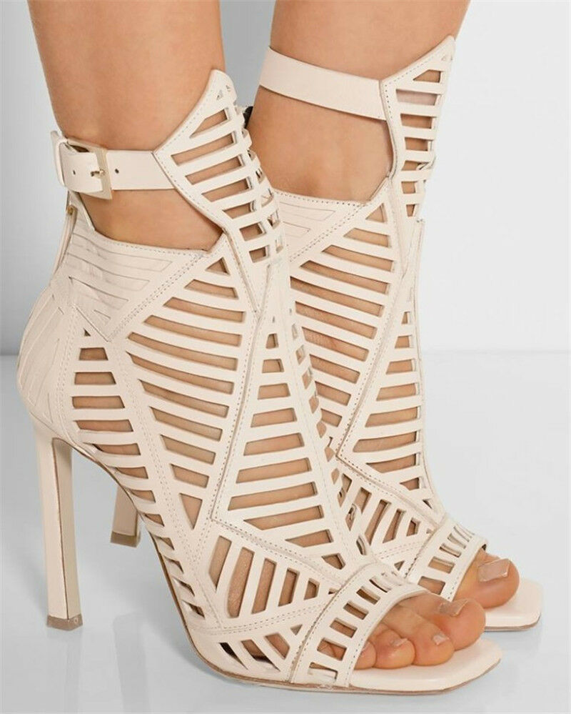 Women Peep Toes Ankle Buckle High Heels Heels Heels Hollow Out Stiletto Sandals Party shoes 228083