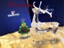 NIB Swarovski Signed Crystal Figurine Christmas Stag Deer /Tree M Set 1133076